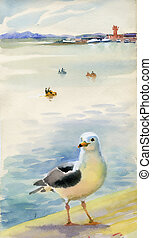 Watercolor seagulls - Original art, watercolor painting of...
