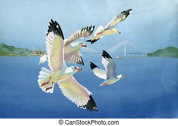 Watercolor seagulls - Original art, watercolor painting of...