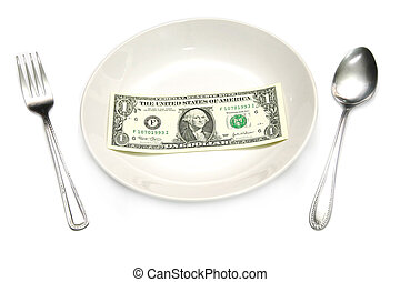 a dollar bill in plate