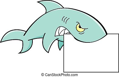 Shark holding a sig - A cartoon illustration of a shark...