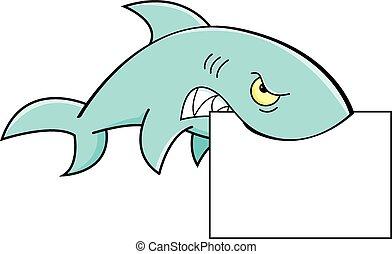 Shark holding a sig - A cartoon illustration of a shark...