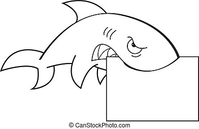 Shark holding a sign - Black and white illustration of a...