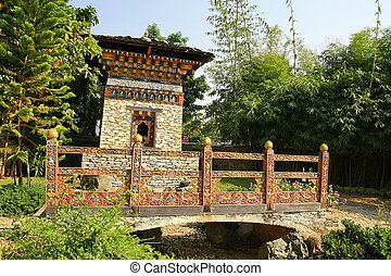 Bell Tower with bridge ,Bhutan