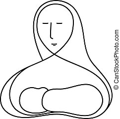 Mother Mary and Baby Jesus - A vector line drawing...