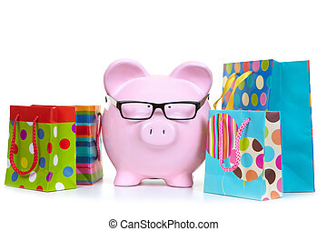 Money-box and multicolored bags - The pink pig bank and...