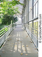 Metal walk way in conservatory