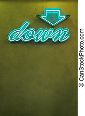 Neon Sign with Arrow Pointing Down - Neon down arrow sign,...