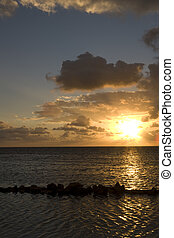 Sunrise over the Gulf of Mexico on Ambergris Caye, Belize
