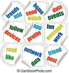 Social media concept stickers in word tag cloud