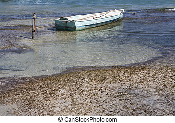 Small boat tied down in the Shallows - A small wooden...