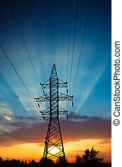 Power lines at sunrise - Power lines on a colorful sunrise