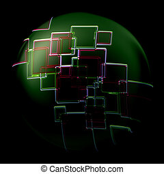 Abstract illustrated glass background object