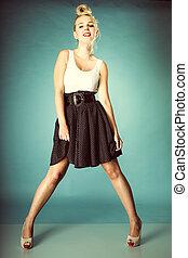 pin-up blonde girl in full length