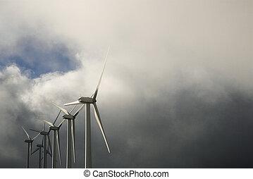 Row of wind turbines.