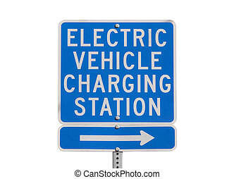 Electric Vehicle Charging Station Sign Isolated - Electric...