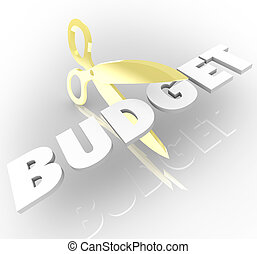 Scissors Cutting Budget Word Austerity Measures Reducing Costs
