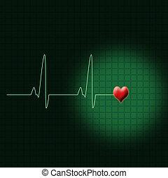 Green ECG - Illustration of an electrocardiogram or a ECG
