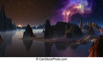 Moonrise and nebula - Fantastic landscape: islands and rocks...