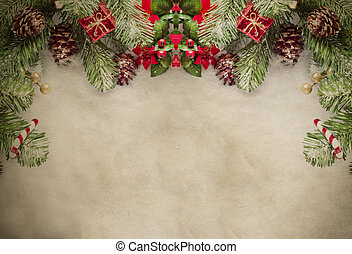 Christmas Border on Parchment - A Christmas border at top of...