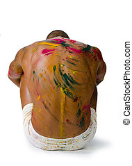 Muscular back of shirtless young man with skin painted all over with bright colors