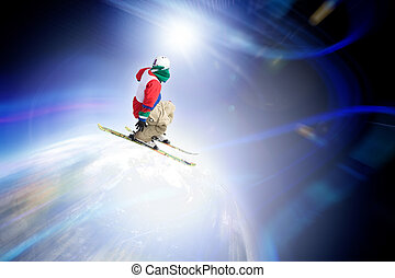 Ski Jumper - Abstract skier catching some major air flying...
