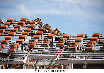 Preparation roof tile - Preparation red tile on roof...