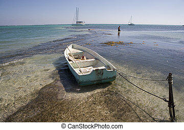 Small wooden boat tied in the Shallows - A small wooden...
