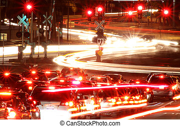 Traffic: Intersection - night time taffic