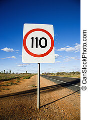 Speed limit sign - Speed limit kilometer per hour road sign...