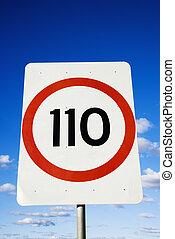 Kilometer road sign - Close up of kilometer per hour speed...