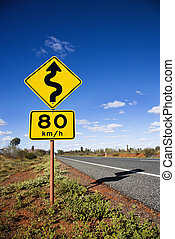 Australia road sign - Kilometer per hour speed limit and...