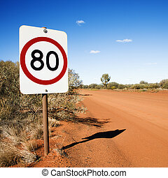 Kilometer speed limit sign - Australian kilometer per hour...
