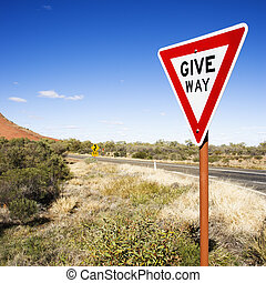 Sign reading Give Way - Humorous road sign reading Give Way...
