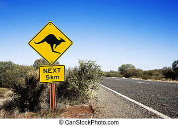 Kangaroo crossing Australia - Kangaroo crossing sign by road...