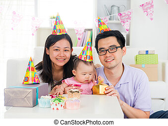 chinese family celebrating baby birthday party ,full moon