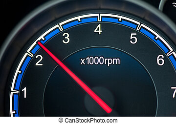 tachometer - Close up on a tachometer of auto
