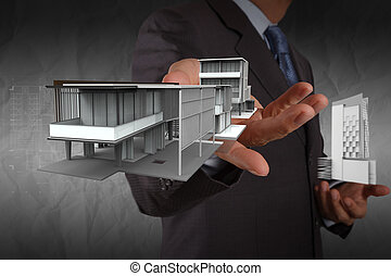 businessman hand shows house model with crumpled paper background as concept