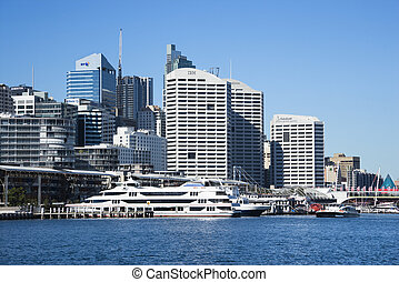 Darling Harbour, Sydney - Skyscraper and waterway in Darling...