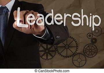 businessman hand writing leadership skill with gear on...