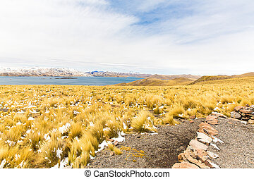 Road Cusco- Puno,Lake Titicaca, Peru,South America. Sacred Valley of the Incas. Spectacular  nature of snowy  mountains and blue sky