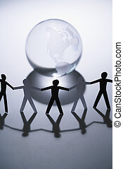 People and globe
