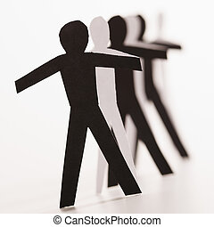 Different people together - Black and white cutout paper...