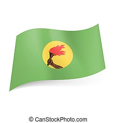 State flag of Zaire. - Flag of ex state Zaire: hand holding...