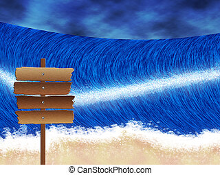 Big wave - Cartoon large blue wave, tsunami seascape digital...