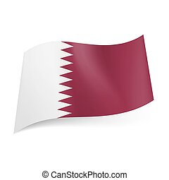 State flag of Qatar - National flag of Qatar: white and...