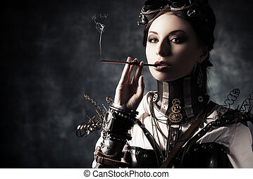 vintage background - Portrait of a beautiful steampunk woman...