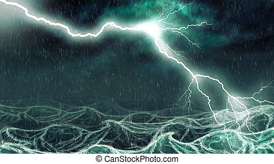 Stormy sea - Active thundershower over the sea digital...
