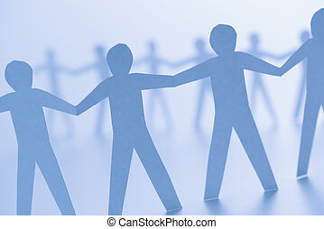 Cutout paper people - Cutout paper men standing holding...