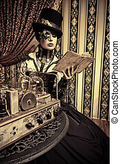 machine - Portrait of a beautiful steampunk woman over...