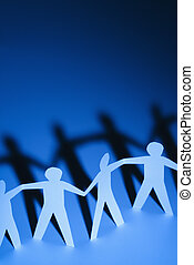 People holding hands - Paper cutout men standing holding...